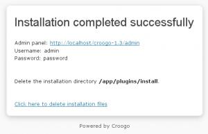 Screenshot: Installation erfolgreich