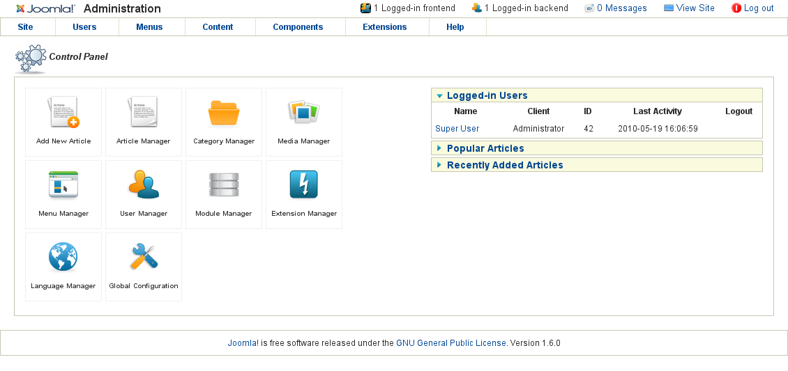 Aboutcms for Joomla backend templates