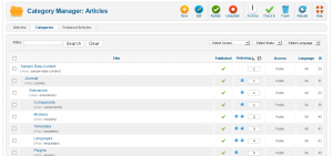 Screenshot: Joomla 1.6 Kategorien