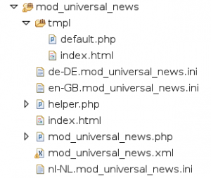 Screenshot: Joomla Modul Dateistruktur