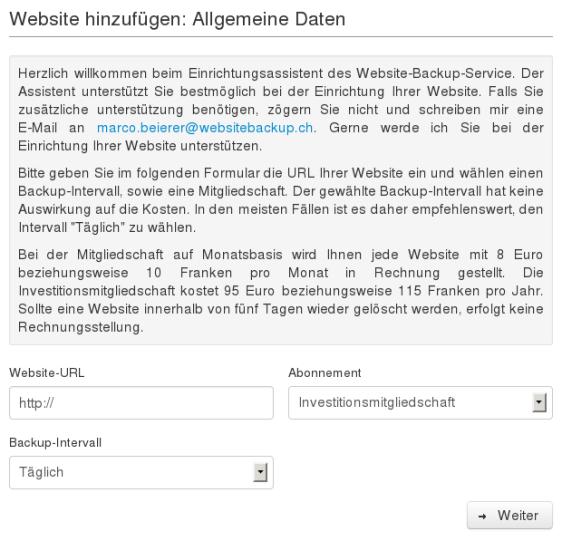 Website-Backup-Einrichtungsassistent: Allgemeine Daten
