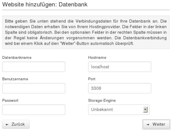 Website-Backup-Einrichtungsassistent: Datenbank einrichten