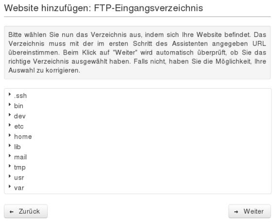 Website-Backup-Einrichtungsassistent: FTP-Eingangsverzeichnis
