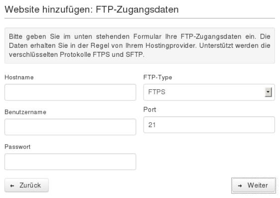 Website-Backup-Einrichtungsassistent: FTP-Zugangsdaten